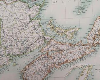 1898 New Brunswick, Nova Scotia and Eastern Quebec Large Original Antique A & C Black Map - Canada- Victorian Wall Decor - Wedding Gift Idea