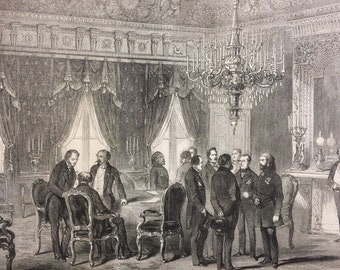 1856 Breaking up a conference at the Hotel of the Ministry for foreign affairs, Paris, original print from engraving, illustrated times
