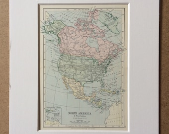 1895 North America Original Antique World Map - Mounted and Matted - 8 x 10 inches - Framed Map - Framed Vintage Art