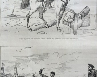 1877 A New Method of crossing a river for cavalry antique print from engraving, Illustrated London News, Victorian Art, Wall Decor,