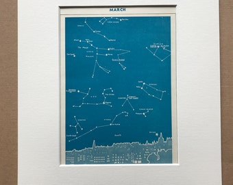 1940s March Star Map seen over Edinburgh Original Vintage Print - Mounted and Matted - Astronomy - Celestial Art - Available Framed