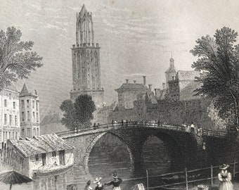 1877 Utrecht - View on the Canal Original Antique Engraving - Netherlands - Holland - Mounted and Matted - Available Framed
