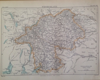 1875 Westmorland Original Antique Map - UK County - England - Vintage Wall Map - Available Framed