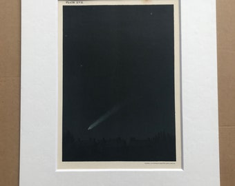 1913 The Comet of 1882, as seen from Streatham Original Antique Print - Astronomy - Celestial Art - Mounted and Matted - Available Framed