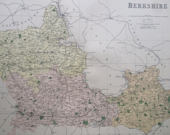 1868 Berkshire Large Original Antique Map showing railways, roads & parliamentary divisions - UK County - Wall Map