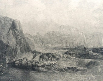 1902 Scarborough by Turner Original Antique Matted Photogravure - Fine Art Landscape - William Turner - Sepia - Yorkshire