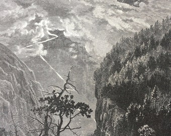 1876 Cliffs of the Jungfrau Original Antique Wood Engraving - Switzerland - Bernese Alps - Mountain - Mounted and Matted - Available Framed