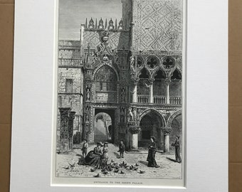 1876 Entrance to Doge's Palace, Venice Original Antique Wood Engraving - Mounted and Matted - Italy - Venetian Gothic Architecture