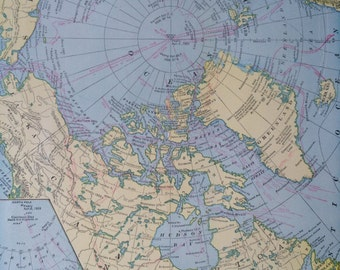 1936 North Polar Regions Arctic Original Vintage Map showing discovery routes 11.5 x 14.5 inches, Home Decor, Cartography, Geography