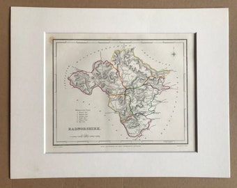 1845 Radnorshire Original Antique Hand-Coloured Engraved Map - UK County Map - Available Framed - Wales