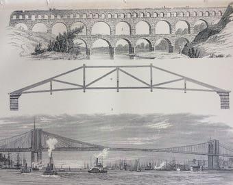 1891 Bridge Original Antique Encyclopaedia Illustration - Brooklyn Bridge - NYC - Suspension Bridge - Engineering - Architecture - Aqueduct