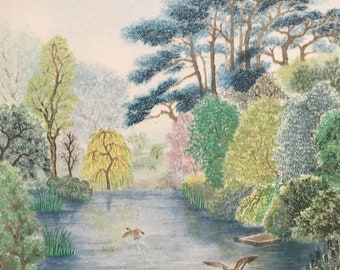 1948 Edinburgh - Royal Botanical Gardens Original Vintage Chiang Yee Illustration - Scotland - Mounted and matted - Available Framed