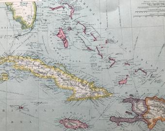 1903 West Indies: Greater Antilles Original Antique Map, 10 x 15.5 inches, Harmsworth map, Caribbean Sea, Jamaica, Barbados, Cuba, Haiti