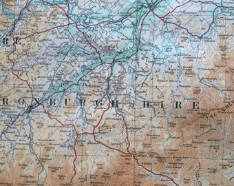 1922 original antique ordnance survey map of Southern Scotland, Roxburghshire, Selkirkshire, Berwickshire, Peebleshire - wall decor