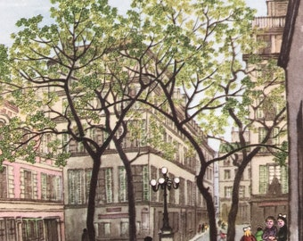 1956 Paris - Place de Furstemberg Original Vintage Chiang Yee Illustration - Mounted and matted - Available Framed