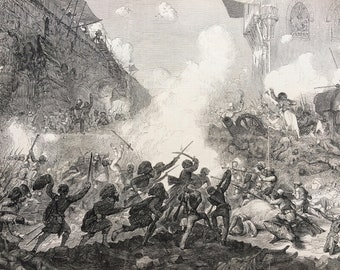 1858 The Storming of Lucknow, India, original print from engraving, illustrated times, Victorian Art, Wall Decor, Military Decor