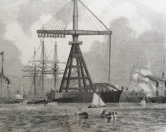 1858 The new floating Derrick, original print from engraving, illustrated times, Pulley, Engineering, Crane, Victorian Decor