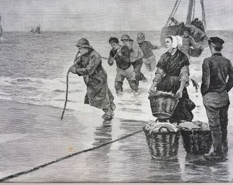 1895 Landing the Catch Original Antique Engraving - Mounted and Matted - Fishing Decor - Engraving by H. Besnou - Available Framed
