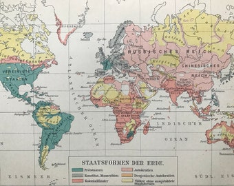 1898 State Political Systems Small Original Antique World Map - Free States, Constitutional Monarchy, Autocracy, Despotic Autocracy