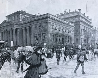 1894 The Art Gallery, Mosley Street and the Athenaeum Original Antique Print - Manchester - Mounted and Matted - Available Framed