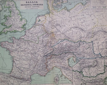 1892 Gallia, Britannia, Germania Original Antique Ancient History Large Map - Latin Map - Geography - Cartography - Historical Map