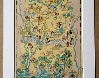 1935 Alabama Original Vintage Cartoon Map - Ruth Taylor - Mounted and Matted - Whimsical Map - United States