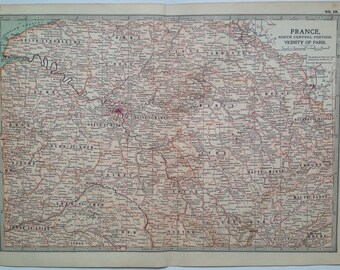 1903 North Central France and the Vicinity of Paris Original Large Antique Map - Wall Map - Home Decor - Cartography - 11 x 16 Inches