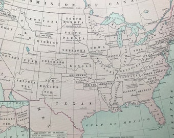 1936 USA History Original Vintage Map showing dates that states are admitted and acquisition of territory - Mounted and Matted - Politics