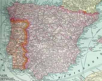 1936 Spain, Portugal, Andorra and Gibraltar Original Vintage Map - Mounted and Matted - Cartography