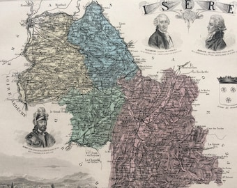 1890 Isere Large Original Antique Map - Department of France - Inset Steel Engravings of Grenoble and Local Dignitary Portraits