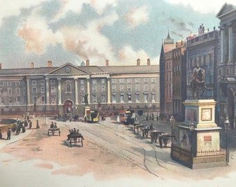 1900 College Green, Dublin Original Antique Print - Ireland - Mounted and Matted - Available Framed