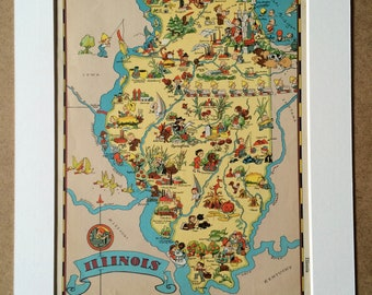 1935 Illinois Original Vintage Cartoon Map - Ruth Taylor - Mounted and Matted - Whimsical Map - United States