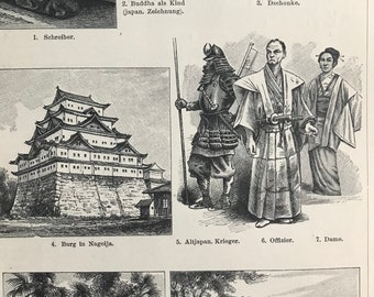 1897 Japanese Culture Original Antique Print - Mounted and Matted - Anthropology - Asia - Temple - Calligraphy - Available Framed