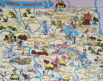 1935 North Dakota Original Vintage Cartoon Map - Ruth Taylor - Mounted and Matted - Whimsical Map - United States