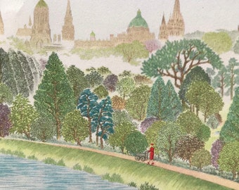 1948 Oxford - View of Oxford's Towers and Spires from a Railway Bridge near Lake Street Original Vintage Chiang Yee Illustration