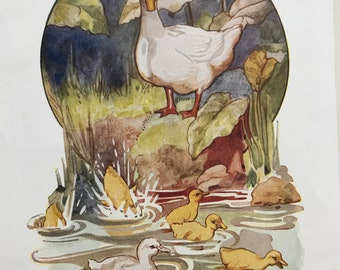 1950 Original Vintage Margaret Tarrant Illustration - Ugly Duckling - Nursery Decor - Fairytale - Available Framed