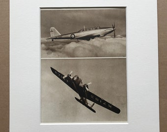 1940s RAF Bombers Original Vintage Print - Mounted and Matted - Aircraft - Fairey Battle - Armstrong Whitworth Whitley - Available Framed