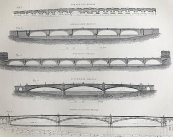 1875 Bridges Original Antique Engraving - Architecture - London Bridge, Waterloo Bridge, Southwark, St Louis Bridge - Available Framed