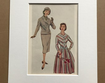 1959 Fashion Original Vintage Print - Mounted and Matted - Clothes - Retro Decor - 50s Fashion - Available Framed