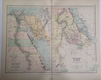 1887 Middle East original antique map, colour, historical, vintage, Nubia, Sudan, Egypt, Abyssinia, Arabia Petraea