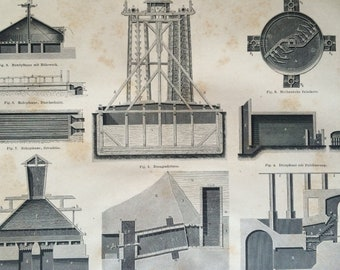 1878 Salt Large Original Antique print - Available Mounted and Matted - Machinery - Mining - Technology - Victorian Decor