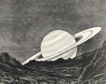 1923 Saturn as seen from Mimas, its nearest Sattelite Original Antique Print - Astronomy - Mounted and Matted - Available Framed