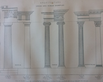 1890 Greek and Roman Architecture Original Antique Print - Column - Gift for Architect - Mounted and Matted - Available Framed