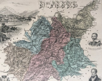 1890 D ses Alpes Large Original Antique Map - Department of France - Inset Steel Engraving - Decorative Art - Cartography - Wall Decor