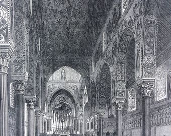1862 Original Antique Engraving - The Chapel Royal, Palermo, Italy - Victorian Wall Decor - Architecture - Church - Available Framed