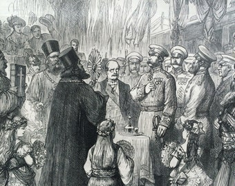 1877 Romanian Priests Blessing Bread and Wine antique print from engraving, Illustrated London News Cover, 19th Century History