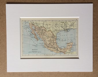 1895 Mexico Original Antique World Map - Mounted and Matted - 8 x 10 inches - Framed Map - Framed Vintage Art