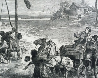 1877 Russo-Turkish War- Watering Horses under difficulties antique print from engraving, Illustrated London News Cover, 19th Century History