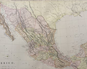 1882 Mexico Large Original Antique Map, 15 x 22 inches, Home Decor, Cartography, Geography, Vintage Decor, wall map