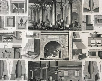 1849 Furnace Engineering Diagram Large Original Antique Print - Mounted and Matted - Available Framed - Victorian Technology - Factory